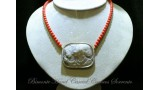 """Two Girls"" Coral and Cameo Necklace"