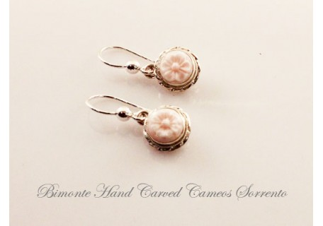 """Fiorellino"" Pink Cameo Earrings"