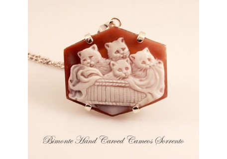 """Cats in the Basket"" Cameo Necklace"