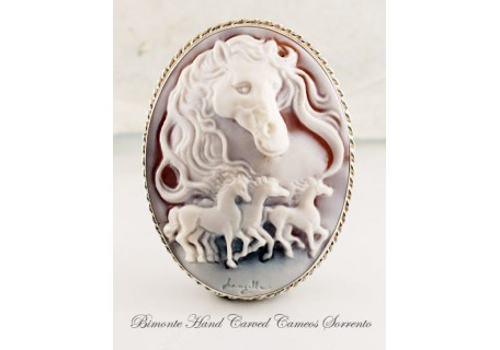 """Horses"" Cameo Brooch and Pendant"