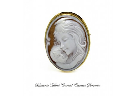 """Rapture of a Mother"" Cameo Brooch and Pendant"