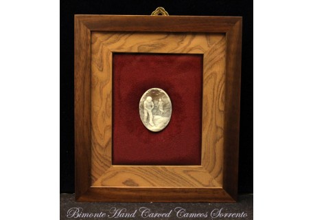 """The Golfer"" Cameo in Wood Frame"