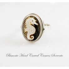 """Bright Sea Horse"" Cameo Ring"