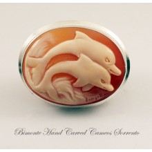 """Dolphins"" Cameo Brooch and Pendant"