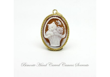 """The Cats and the Butterfly"" Cameo Pendant"