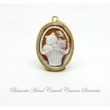 """""""The Cats and the Butterfly"""" Cameo Pendant"""