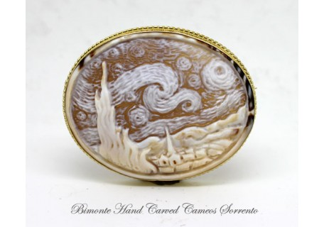 """Starry Night"" ( Vincent Van Gogh) Cameo Brooch and Pendant"