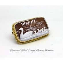 """Duck Family"" Cameo Brooch"