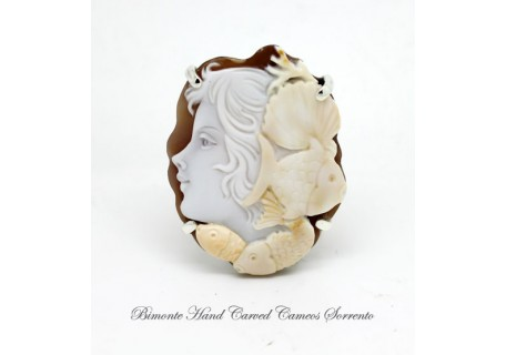 """Marina"" Cameo Brooch and Pendant"