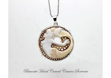 """The Mermaid of Sorrento"" - Golden Tail- Cameo Necklace"