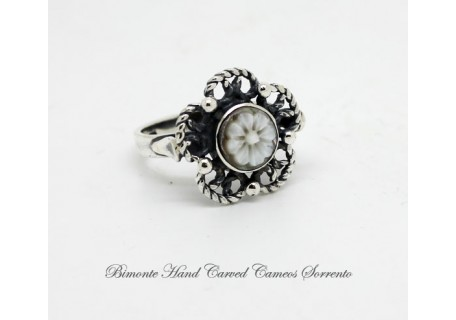 """The Flower of Joy"" Filigree Work Cameo Ring"