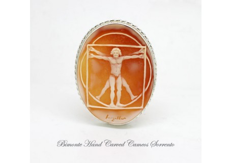 """Vitruvian Man"" Cameo Brooch and Pendant"
