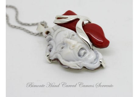 """Amulet"" Cameo and Coral Necklace"
