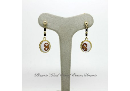 """Moon and Star"" Cameo Earrings"