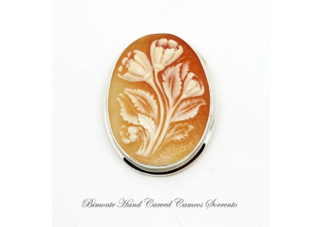 """Tulips"" Cameo Brooch and Pendant"