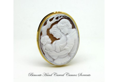 """A Family"" Cameo Brooch and Pendant"
