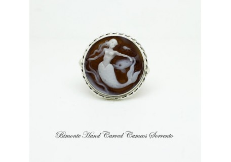 """The Mermaid and the Dolphin"" Cameo Ring"