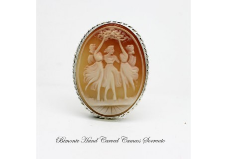 Three Graces Cameo Brooch and Pendant