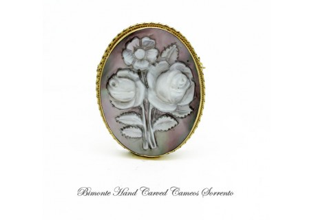 """Bright Flowers"" Cameo Brooch and Pendant"