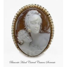 """ A Beautiful Mother"" Old Cameo Brooch and Pendant"