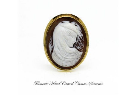 """The Lady in the Wind"" Cameo Brooch and Pendant"