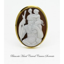 """Saint Christopher and the Child"" Cameo Brooch and Pendant"