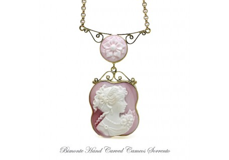 """Pink Flora"" Cameo Necklace"