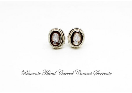 """Tiny"" Mother of Pearl Cameo Earrings"