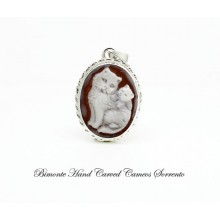 """Cat and Kitten"" Cameo Pendant"
