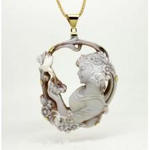 """Magnolia and the Hummingird"" Cameo Necklace"