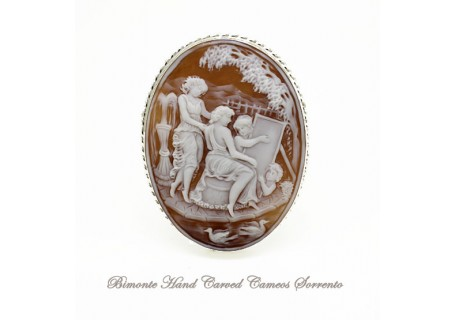 """The Painter"" Cameo Brooch and Pendant"
