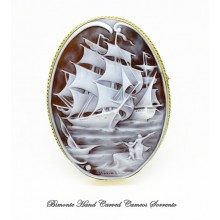 """Sailing Ships"" Cameo Brooch and Pendant"