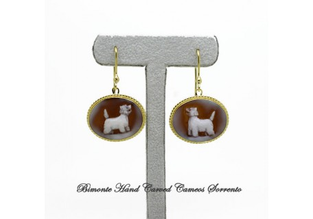 """West Highland Terrier"" Cameo Earrings"