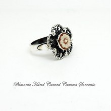 """Flower of Joy"" Filigree Work Cameo Ring"