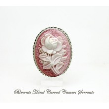 """A Pink Rose"" Cameo Brooch and Pendant"