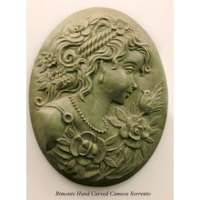 """The Girl and the Bird"" Lava Stone Cameo"