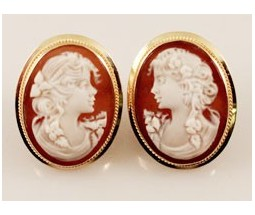 Gold Cameo Earrings